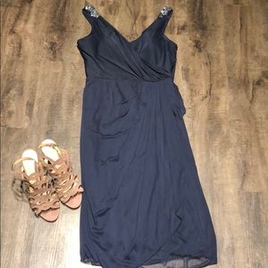 Navy Embellished Evening Gown